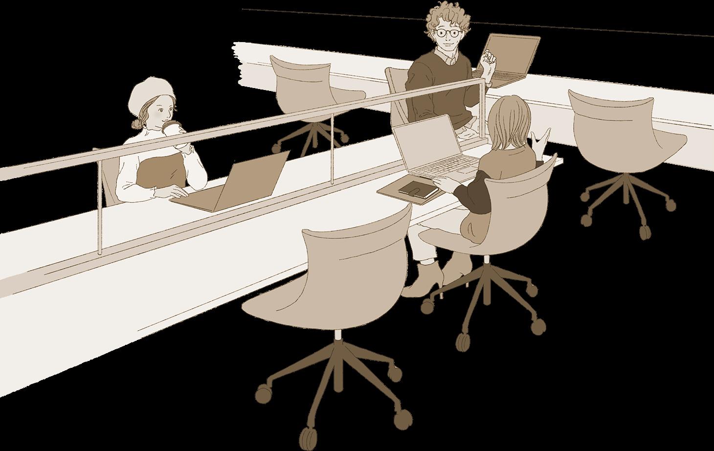地上階で協働